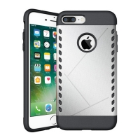 Hybrid Combo Aegis Armor Case Cover for Apple iPhone 8 Plus (Silver)