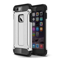 Hybrid Dual Layer Tough Armor Protective Case for Apple iPhone 8 Plus (Silver)