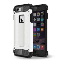 Hybrid Dual Layer Tough Armor Protective Case for Apple iPhone 8 Plus (White)