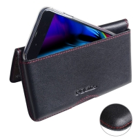 Leather Wallet Pouch for Apple iPhone 8 Plus (in Slim Case/Cover) (Red Stitch)