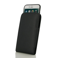 Leather Vertical Pouch Case for Apple iPhone 8 Plus (in Slim Case/Cover) (Black Stitch)