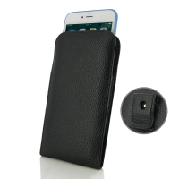 Leather Vertical Pouch Belt Clip Case for Apple iPhone 8 Plus (in Slim Case/Cover) (Black Pebble Leather/Black Stitch)