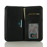 Leather Card Wallet for Apple iPhone 8 Plus (in Slim Case/Cover) (Black Pebble Leather/Black Stitch)