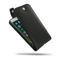 Leather Flip Top Wallet Case for Apple iPhone 8 Plus (Black Pebble Leather/Black Stitch)