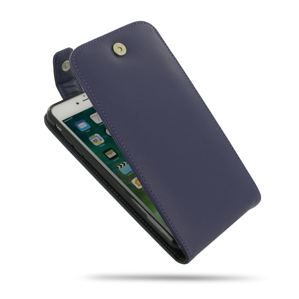 Leather Flip Top Wallet Case for Apple iPhone 8 Plus (Purple)