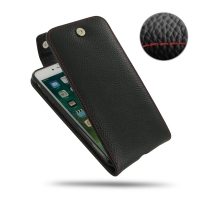 Leather Flip Top Wallet Case for Apple iPhone 8 Plus (Black Pebble Leather/Red Stitch)
