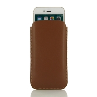 Simple Leather Pouch Case for Apple iPhone 8 Plus (Brown)