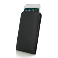Leather Vertical Pouch Case for Apple iPhone 8 Plus (Black Stitch)