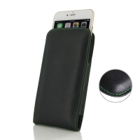 Leather Vertical Pouch Case for Apple iPhone 8 Plus (Green Stitch)