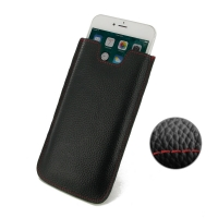 Leather Vertical Sleeve Pouch Case for Apple iPhone 8 Plus (Black Pebble Leather/Red Stitch)