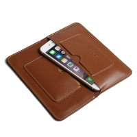 Simple Leather Wallet Case for Apple iPhone 8 Plus (Brown)