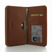 Leather Card Wallet for Apple iPhone 8 Plus (Brown Pebble Leather)