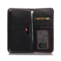 Leather Card Wallet for Apple iPhone 8 Plus (Black Pebble Leather/Red Stitch)