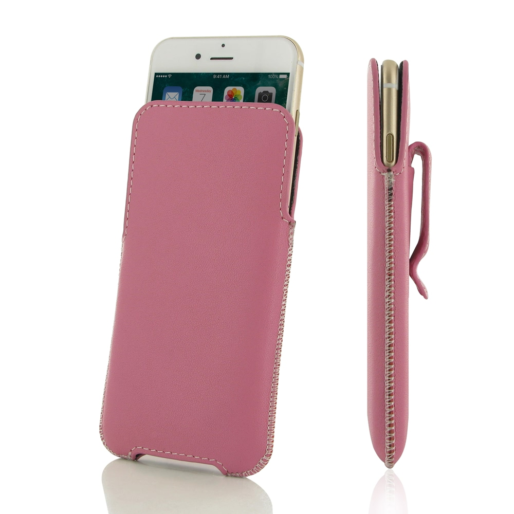 Luxury Leather Pouch Belt Clip Case for Apple iPhone 8 Plus (Petal Pink)
