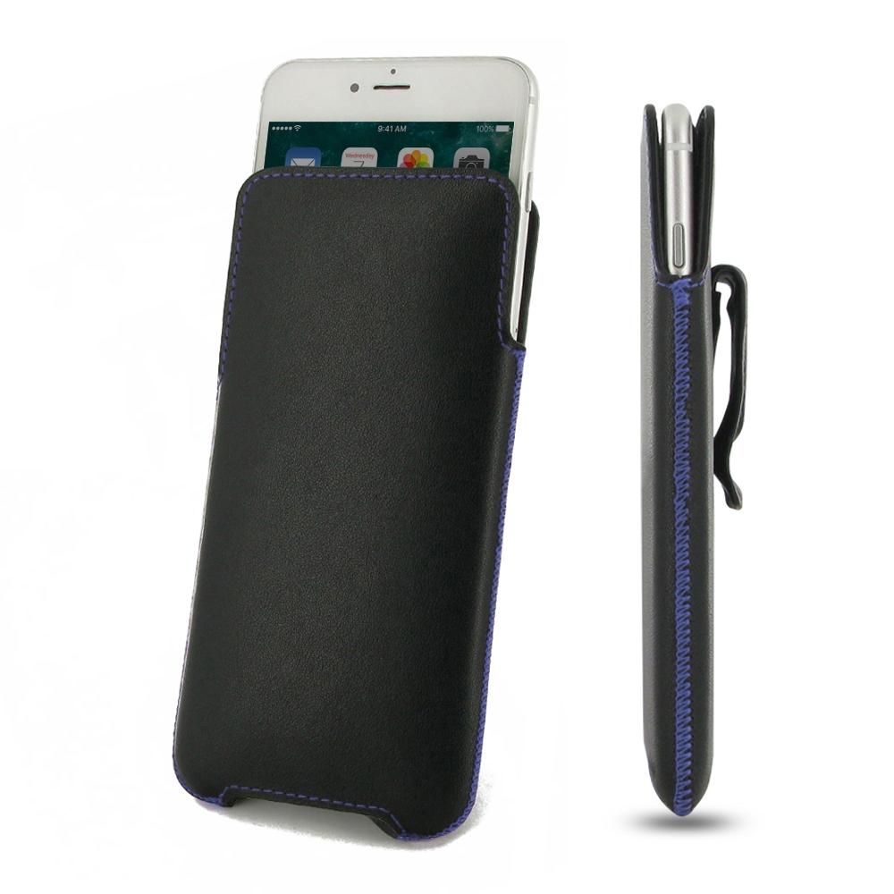 Luxury Leather Pouch Belt Clip Case for Apple iPhone 8 Plus (Purple Stitch)