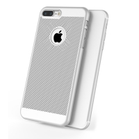 Ultra Slim Shockproof Premium Matte Finish Mesh Hard Case for Apple iPhone 8 Plus (Silver)