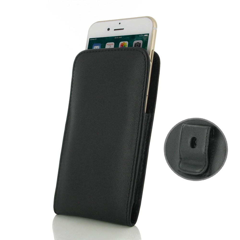 Leather Vertical Pouch Belt Clip Case for Apple iPhone 8 (Black Stitch)