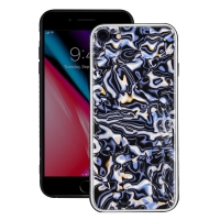 Natural Sea Shell Pattern Protective Fashion Case for Apple iPhone 8 (Blue Shell Pattern)