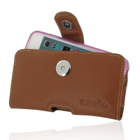 Leather Horizontal Pouch Case with Belt Clip for Apple iPhone SE ( Compatible with 1.0 mm Slim Case / Cover on ) (Brown)