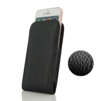 Leather Vertical Pouch Case for Apple iPhone SE (Black Pebble Leather/Black Stitch)