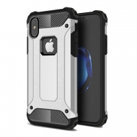 Hybrid Dual Layer Tough Armor Protective Case for Apple iPhone X | iPhone 10 (Silver)