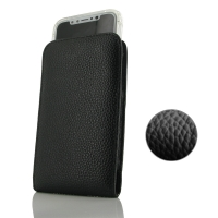 Leather Vertical Pouch Case for Apple iPhone X | iPhone 10 ( Compatible with 1.0 mm Slim Case / Cover on ) (Black Pebble Leather/Black Stitch)