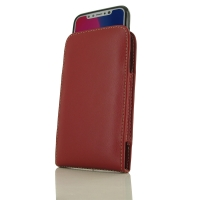Leather Vertical Pouch Case for Apple iPhone X | iPhone 10 ( Compatible with 1.0 mm Slim Case / Cover on )  (Red)
