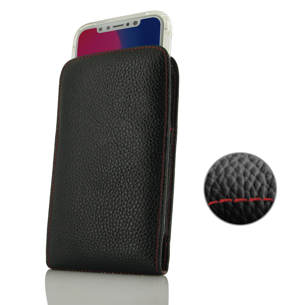 Leather Vertical Pouch Case for Apple iPhone X | iPhone 10 (in Slim Case/Cover) (Black Pebble Leather/Red Stitch)
