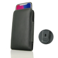 Leather Vertical Pouch Belt Clip Case for Apple iPhone X | iPhone 10 ( Compatible with 1.0 mm Slim Case / Cover on )