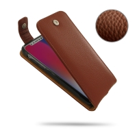 Leather Flip Top Wallet Case for Apple iPhone X | iPhone 10 (Brown Pebble Leather)