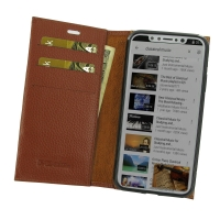 Leather Book Stand Wallet Case for Apple iPhone X | iPhone 10 (Brown Pebble Leather)