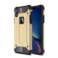 Hybrid Dual Layer Tough Armor Protective Case for Apple iPhone XR (Gold)