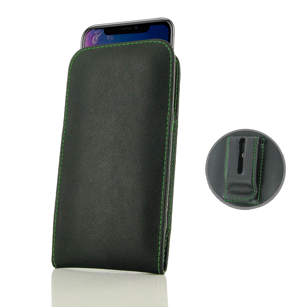 10% OFF + FREE SHIPPING, Buy the BEST PDair Handcrafted Premium Protective Carrying iPhone XR Pouch Case with Belt Clip (Green Stitch). Exquisitely designed engineered for iPhone XR.