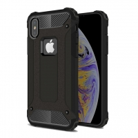 Hybrid Dual Layer Tough Armor Protective Case for Apple iPhone XS (Black)