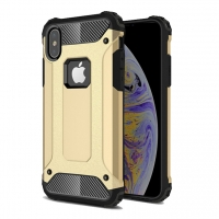Hybrid Dual Layer Tough Armor Protective Case for Apple iPhone XS (Gold)