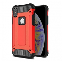 Hybrid Dual Layer Tough Armor Protective Case for Apple iPhone XS (Red)