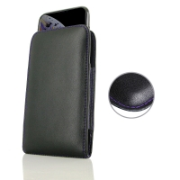 Leather Vertical Pouch Case for Apple iPhone XS (in Slim Case/Cover) (Purple Stitch)