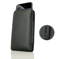 Leather Vertical Pouch Belt Clip Case for Apple iPhone XS (in Slim Case/Cover) (Black Stitch)