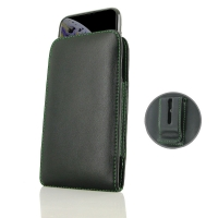 Leather Vertical Pouch Belt Clip Case for Apple iPhone XS ( Compatible with 1.0 mm Slim Case / Cover on ) (Green Stitch)