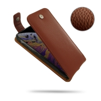 Leather Flip Top Wallet Case for Apple iPhone XS (Brown Pebble Leather)
