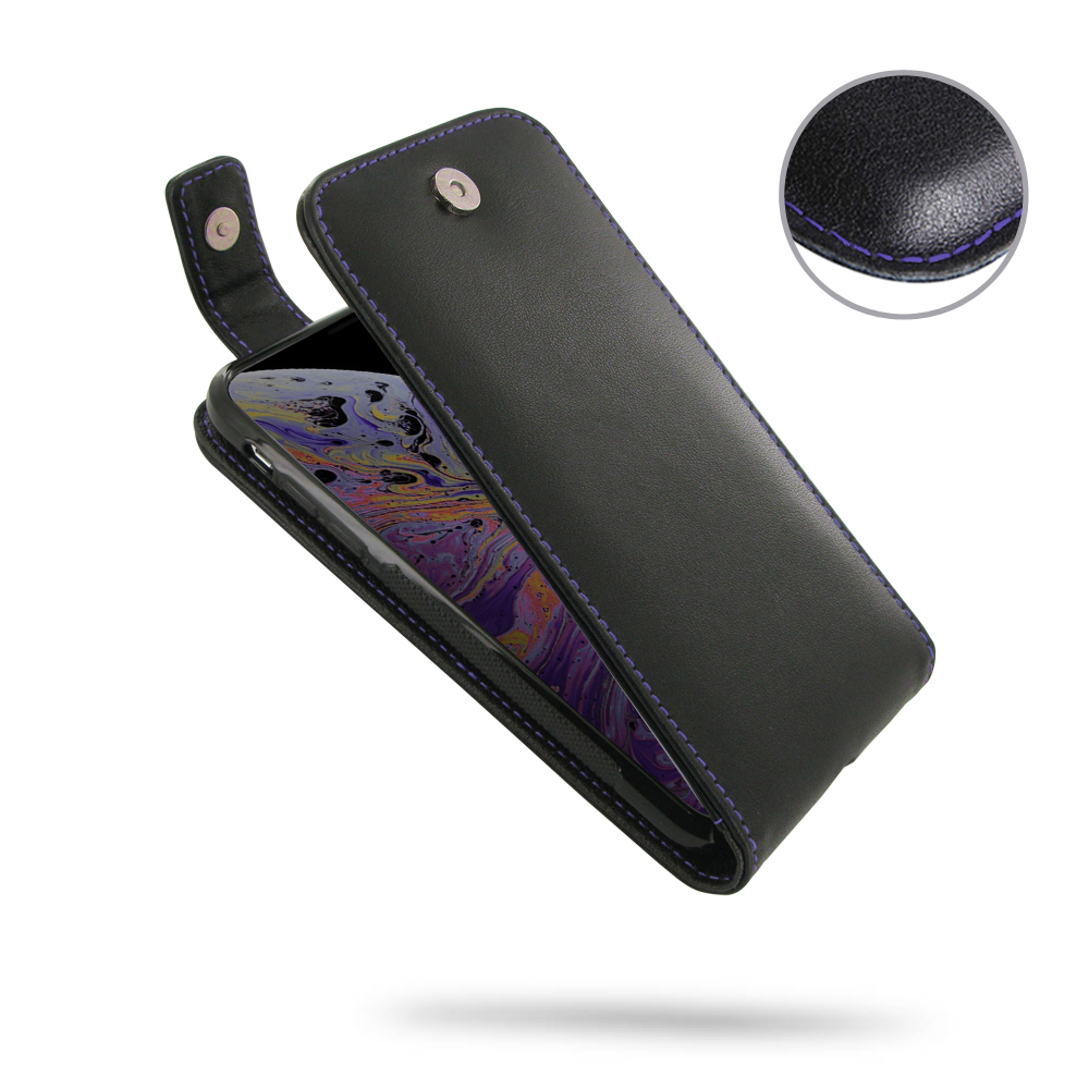 10% OFF + FREE SHIPPING, Buy the BEST PDair Handcrafted Premium Protective Carrying iPhone XS Leather Flip Top Wallet Case (Purple Stitch). Exquisitely designed engineered for iPhone XS.