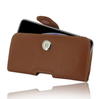 Leather Horizontal Pouch Case with Belt Clip for Apple iPhone XS (Brown)