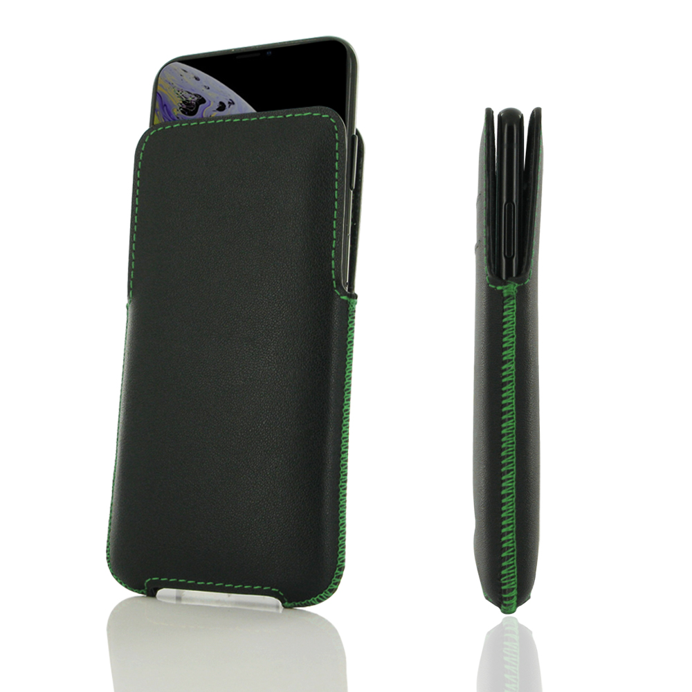 10% OFF + FREE SHIPPING, Buy the BEST PDair Top Quality Full Grain Handmade Premium Protective Carrying iPhone XS 7 Leather Pocket Pouch (Green Stitch). Exquisitely designed engineered for iPhone XS.
