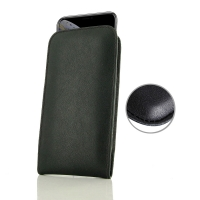 Leather Vertical Pouch Case for Apple iPhone XS (Black Stitch)