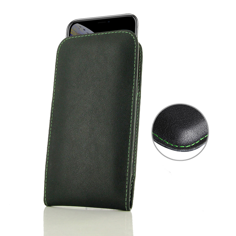 10% OFF + FREE SHIPPING, Buy the BEST PDair Handcrafted Premium Protective Carrying iPhone XS Leather Sleeve Pouch Case (Green Stitch). Exquisitely designed engineered for iPhone XS.