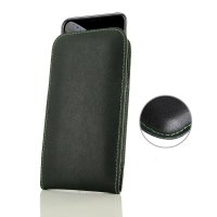 Leather Vertical Pouch Case for Apple iPhone XS (Green Stitch)