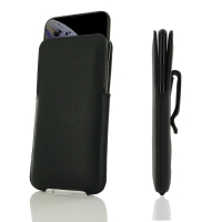 Luxury Leather Pouch Belt Clip Case for Apple iPhone XS (Black Stitch)