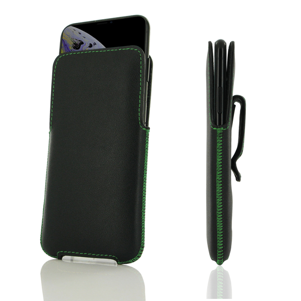 10% OFF + FREE SHIPPING, Buy the BEST PDair Top Quality Handmade Premium Protective Carrying iPhone XS Luxury Pouch Case with Belt Clip (Green Stitch). Exquisitely designed engineered for iPhone XS.