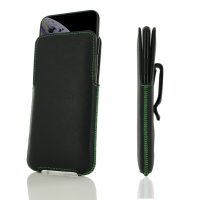 Luxury Leather Pouch Belt Clip Case for Apple iPhone XS (Green Stitch)