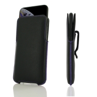 Luxury Leather Pouch Belt Clip Case for Apple iPhone XS (Purple Stitch)